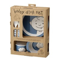 5 Piece Baby Peek-a-Boo Dish Set in Blueberry - Melamine - plate, bowl, sippy cup, lid, fork, spoon