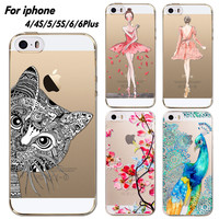 Phone Case Cover For iPhone 4 4S 5 5S 6 6plus Ultra Soft Silicon Transparent Lovely Cat Girl Flowers Animals Printed