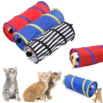 Pet Colorful Striped Playing Tunnel Rabbit Kitten Collapsible Tunnel Cat Foldable Toy Long Play Tunnel Dog Products Pet Supplies