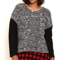 Long Solid Sleeve High Low Pullover Sweater with Marled Cable Knit