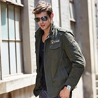 Man Military Cotton Cardigan Jacket Coat