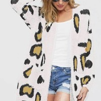 Fuzzy Leopard Print Cardigan, Two Colors