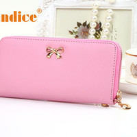 Splendid New Hot Designer Famous Brand Female Women Korean Cute Bowknot Purse Solid Wearable Wallet Handbag Drop Order