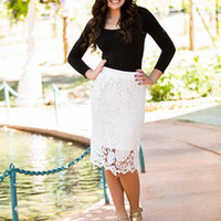 Laced with Beauty Pencil Skirt White