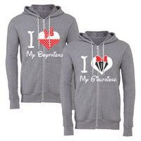 i love my girlfriend mickey i love my boyfriend minnie matching couple zipper hoodie