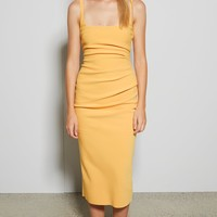 Tangerine Scoop Neck Bandage Midi Dress