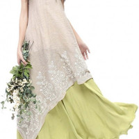 Embroidery Fake Two piece Linen Folk Style Long Dress