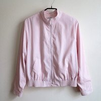 Pale Pink Windbreaker Womens Bomber Jacket Pastel Pink Blazer Medium Size Made in Germany