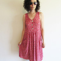 Vintage 90s Red and White with Flowers Crinkle Sleeveless Indie Hipster Boho Jumper Dress