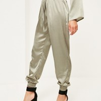 Missguided - Green Satin Cuff Joggers
