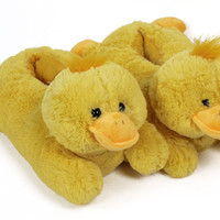Fuzzy Yellow Duck Slippers | Yellow Duck Slippers | Animal Slippers
