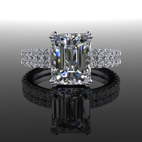 Forever Brilliant Emerald Cut Moissanite and Diamond Engagement Ring 3.31 CTW