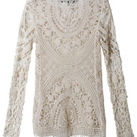 LE3NO Womens Lightweight Loose Fit Long  Sleeve Crochet Top (CLEARANCE)