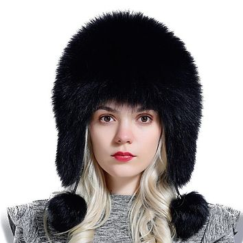 fox fur hats for women winter warm natural geniune real fur hats with earflaps handsewn fashionable bomber hat Ushanka