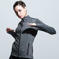 BothMeetYuan Womens Running Sports Jackets Full-Zip Lightweight Active Coat With Thumb Holes