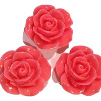 Salmon pink flower resin cabochon 15mm / 1-5 pieces