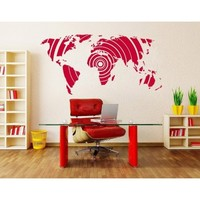 Silver newclew world map wall decal Vinyl Art Sticker Home Décor Large