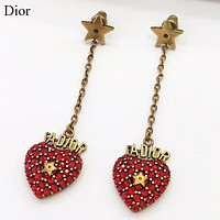 Dior Fashion New Diamond Love Heart Star Long Earring Accessory