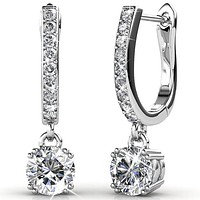 "McKenzie ""Charming"" 18k White Gold Swarovski Drop Earrings"