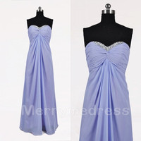 Beads Sequins Ruffled Sweetheart Strapless Long Bridesmaid Celebrity Dress, Chiffon Formal Evening Party Prom Dress New Homecoming Dress