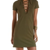 Olive Short Sleeve Lace-Up Shift Dress by Charlotte Russe