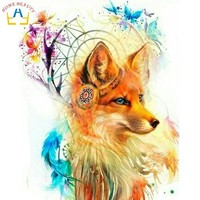 Animals fox pictures by numbers drawing on canvas with acrylic paints wall art paintings for the kitchen home decor gift WR062