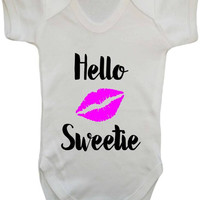 Hello Sweetie River Song Funny Statement Sentiment Doctor's Wife Companion Whovian Parents Gift Doctor Who Parody Baby Onesuit Vest