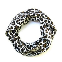 Leopard Childs Scarf CuteToddler Scarf White Black Brown Holiday Gift Idea Girl Scarf Kids Scarf  Ready To Ship