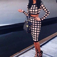 FASHION PRINTED PLAID TWO-PIECE DRESS
