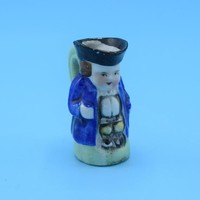 Japan Mini Toby Mug Vintage Miniature Colonial Man Creamer Blue Colonial Man with Green Handle Gift for Him Man Cave Decor Free Shipping