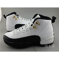 Air Jordan 12 GS white/black Basketball Shoes 36-40