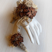 FREE Shipping! Rustic Pinecone Wrist Corsage and/or Boutonniere, Rustic Country Wedding, Corsage & Boutonniere. Made to Order.
