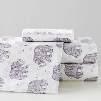 Winter Elephant Flannel Sheet Set