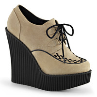 Demonia Creeper 302 Cream Vegan Suede Wedge Oxford Shoe