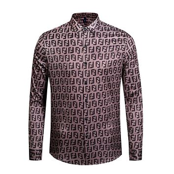 FENDI Fashion Men Casual F Letter Long Sleeve Lapel Shirt Top Coffee