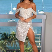 Silver Pleated Sequin Short Dress