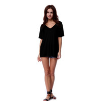 Authentic Piko V-Neck Loose Fit Short Sleeve Top, Black (size M)