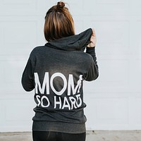 Mom So Hard Lightweight Zip-Up Hoodie - Charcoal with White Print