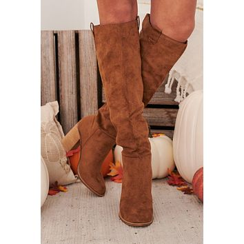 For Fashion's Sake Faux Suede Knee High Boots (Caramel)