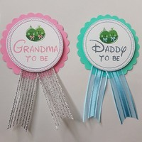 Peas in a Pod Baby Shower Pin, Twins Baby Shower Pin for daddy to be or grandma to wear at Baby Sprinkle, Comes with a pin backing