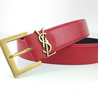 YSL new simple retro smooth buckle belt