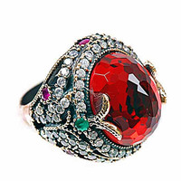 GARNET gemstone design  925 Sterling SILVER RING It has been manufactured in 925 sterling silver.