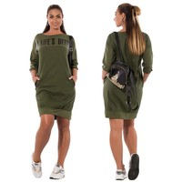 Fall Winter Dresses Casual Red Blue Green Bodycon Pockets Pullover Dress Large Size Alphabet Printing Plus Size Women Dress