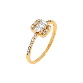 CZ Baguette Thin Ring 14K