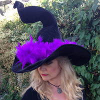 Tall Twisty Dramatic Cheeky Witch Hat with Purple Feathers and Sparkly Star Brooch