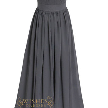 Criss-cross Grey Chiffon Long Prom Dress With Belt Am105