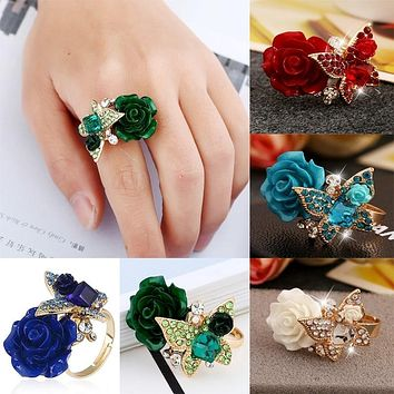2020 Fashion Rose Flowers Ring Solid Sterling Silver Art Deco Filigree Ring Sz 6-10