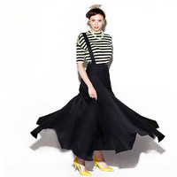 black long skirt for women featuring pleated,high waist,one suspender,asymmetrical hem,loose fit style.