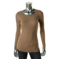 INC Womens Heathered Ribbed Knit Pullover Sweater