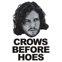 JON SNOW - CROWS BEFORE HOES funny T-shirt iron on sticker is made of top quality eco solvent heat transfer paper that will not crack or peel [] - $2.00 : irononsticker.com